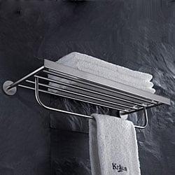 KRAUS Bathroom Accessories - Bath Towel Rack with Towel Bar in Brushed Nickel - Thumbnail 1