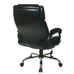Executive Big Man's Black Chair with Bonded Leather Seat - Thumbnail 1