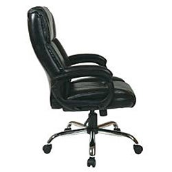Executive Big Man's Black Chair with Bonded Leather Seat - Thumbnail 2