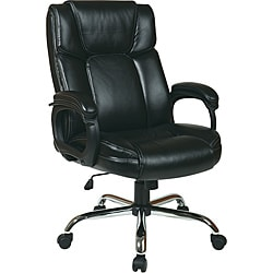 Office Star Executive Black Big Man's Chair/ Eco Leather Seat
