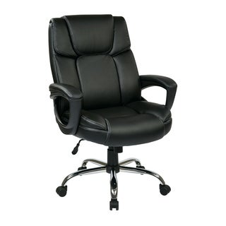 Executive Big Man's Black Chair with Bonded Leather Seat