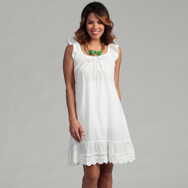 White Lace Voile Print Nighty (India)