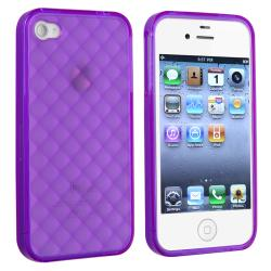 Clear Purple Diamond TPU Rubber Skin Case for Apple iPhone 4/ 4S - Thumbnail 1