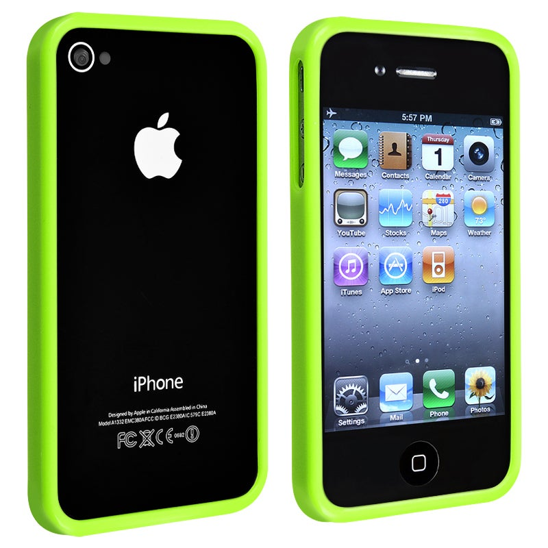 INSTEN Green Shiny Bumper TPU Rubber Skin Phone Case Cover for Apple iPhone 4/ 4S - Thumbnail 0