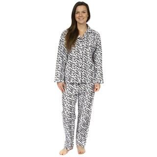 Leisureland Women's Zebra Print Pajamas Set