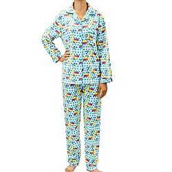 Leisureland Women's Kitty Print Pajama Set