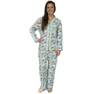 Leisureland Women's Kitty Print Pajama Set