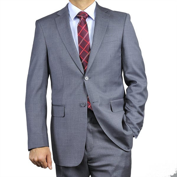 Mens Charcoal Grey 2-button Classic Wool Suit