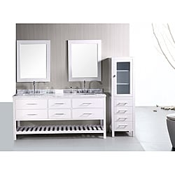 Design Element London Shaker Style Double Sink Bathroom Vanity Marble Counter Top