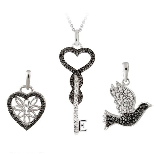 DB Designs Rhodium-plated Black Diamond Accent Heart, Key and Bird Necklace Set