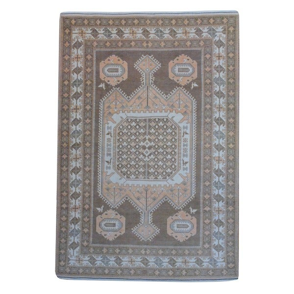 Herat Oriental Afghan Hand-knotted Vegetable Dye Brown/ Ivory Wool Rug (6'10 x 9'10)