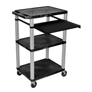 H.Wilson 42 Inch High Black Open Shelf Wheeled Presentation Stand
