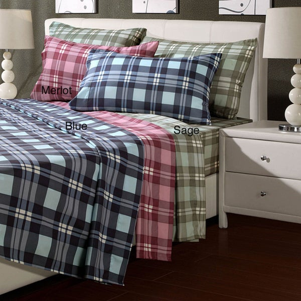 Plaid Microfiber Full-size Sheet Set