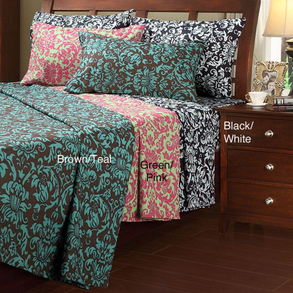 Damask Microfiber Twin-size Sheet Set - Free Shipping On Orders ...