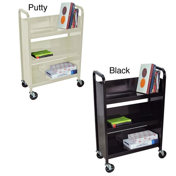Luxor Three-shelf Steel 27-inch Wide Book Truck (with Casters)