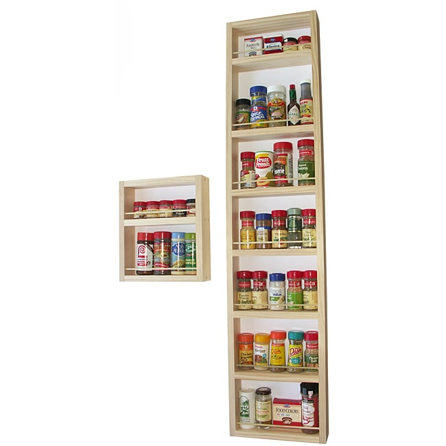 WG Wood Products Nine-Shelf Two-Piece Solid Wood Surface Mounted Kitchen Spice Rack