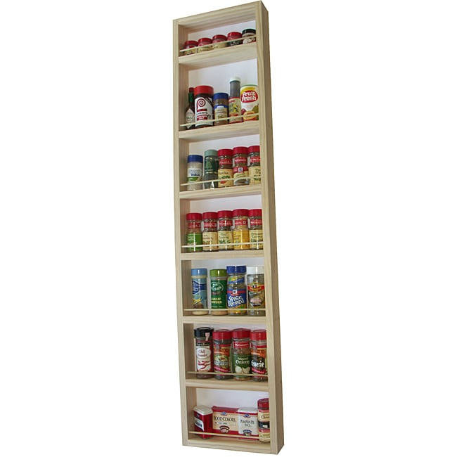 WG Wood Products Easy to Mount Solid Wood Surface Mounted Kitchen Spice Rack