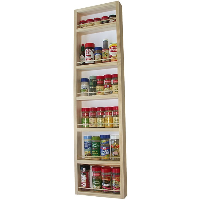WG Wood Products Solid Wood Six-Shelf Surface Mounted Kitchen Spice Rack