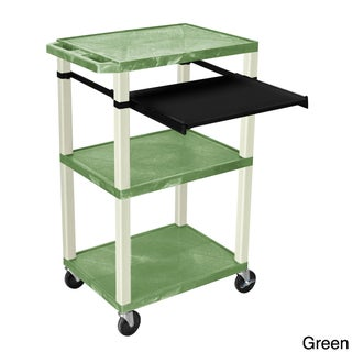 H. Wilson 3 Shelf Open Presentation Cart (Option: Green w/Putty Legs)