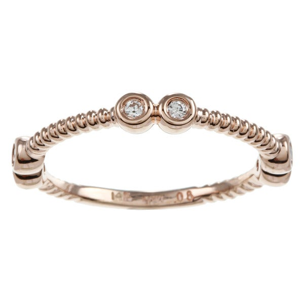 14k Pink Gold Diamond Accent Beaded Stackable Ring