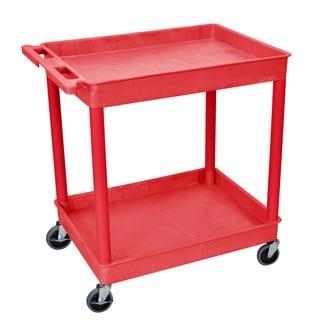 Luxor Red Polyehylene Wheeled Utility Cart with Two Shelf Tubs
