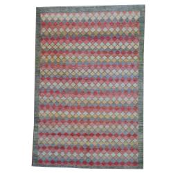 Herat Oriental Afghan Hand-knotted Vegetable Dye Salmon/ Blue Wool Rug (6'6 x 9'7)