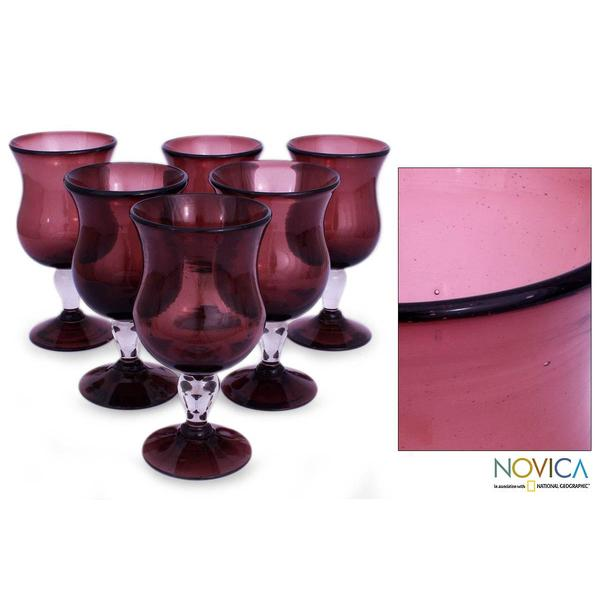 Handmade Set of 6 Blown Glass 'Amethyst' Goblets (Mexico)