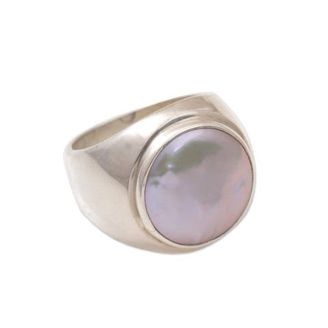 Handmade Deep Sea Pearl Sterling Silver Ring 15 mm (Indonesia)