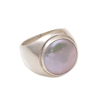 Handmade Sterling Silver 'Deep Sea' Pearl Ring (15 mm) (Indonesia) - Blue