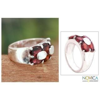 Handmade Sterling Silver 'Love Talks' Garnet Cocktail Ring (India) (2 options available)