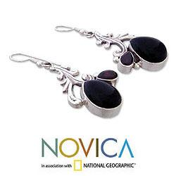 Sterling Silver 'Black Blush' Multi-gemstone Earrings (India) - Thumbnail 2