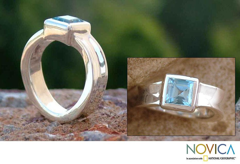 Sterling Silver 'Clarity' Blue Topaz Solitaire Ring (India)