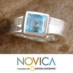 Sterling Silver 'Clarity' Blue Topaz Solitaire Ring (India) - Thumbnail 1