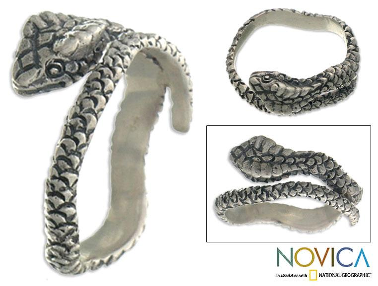 Handmade Sterling Silver Wrap Ring 'Silver King Cobra' (Indonesia)