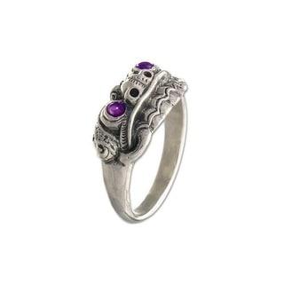 Handmade Sterling Silver Men's 'Immortal Eclipse' Amethyst Ring (Indonesia)