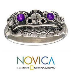 Handmade Sterling Silver Men's 'Immortal Eclipse' Amethyst Ring (Indonesia) - Thumbnail 2