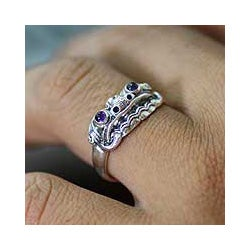 Handmade Sterling Silver Men's 'Immortal Eclipse' Amethyst Ring (Indonesia)