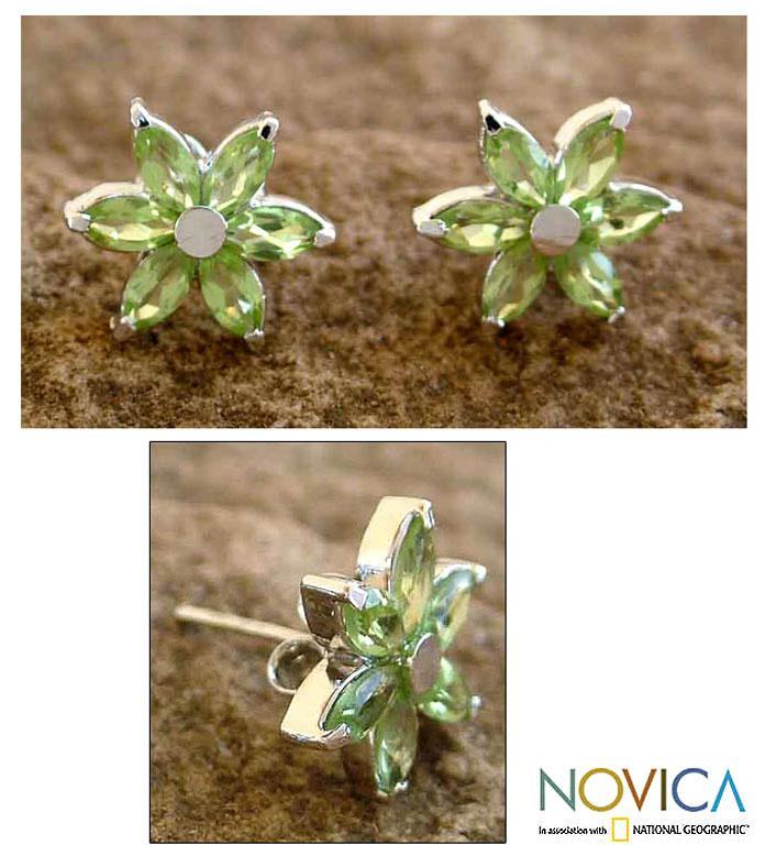 Sterling Silver 'Summer Blossom' Peridot Earrings (India)
