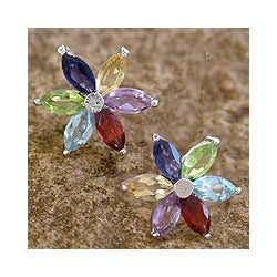 Handmade Sterling Silver 'Paradise Flower' Multi-gemstone Earrings (India)