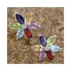 Handmade Sterling Silver 'Paradise Flower' Multi-gemstone Earrings (India)