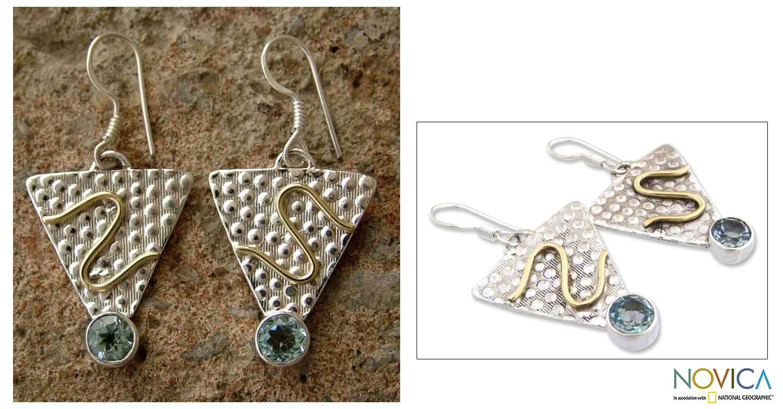 Handmade Sterling Silver 'Golden Serpent' Blue Topaz Earrings (India)