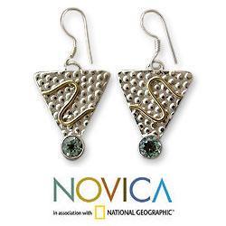 Handmade Sterling Silver 'Golden Serpent' Blue Topaz Earrings (India) - Thumbnail 1
