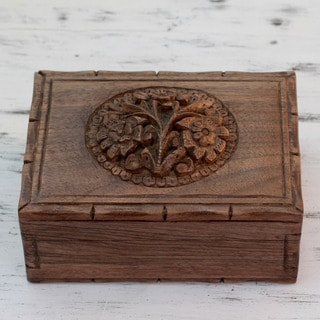 Handcrafted Walnut Wood 'Kashmiri Flower' Jewelry Box (India)