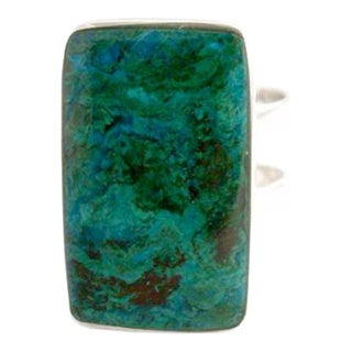 Handmade Sterling Silver 'Amazon Blue' Chrysocolla Ring (Peru)
