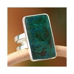 Handmade Sterling Silver 'Amazon Blue' Chrysocolla Ring (Peru)