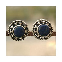Sterling Silver 'Lavish Moon' Lapis Lazuli Earrings (India)