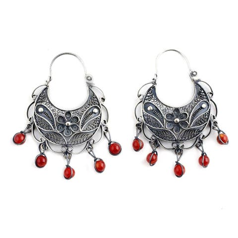 Sterling Silver Dancing Carnelian Filigree Earrings (Peru)