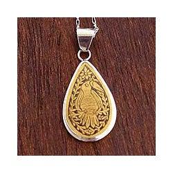 Sterling Silver 'Rainforest Tear' Mate Gourd Necklace (Peru)