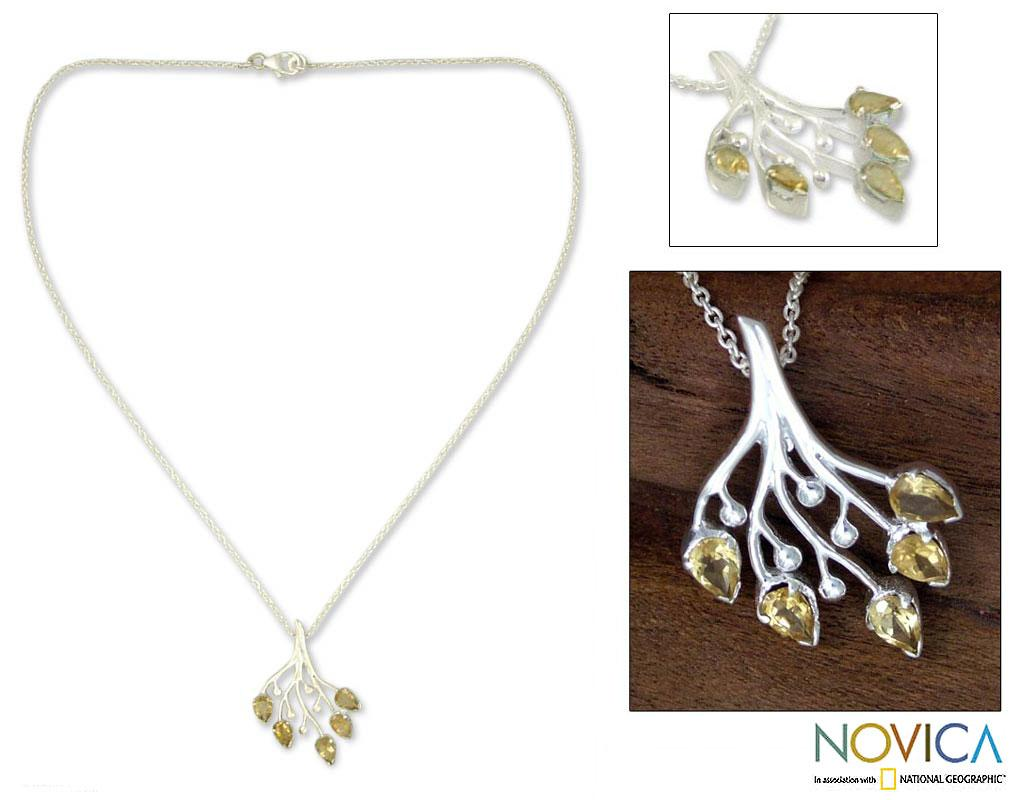 Sterling Silver 'Summer Song' Citrine Necklace (India)