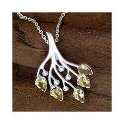 Handmade Sterling Silver 'Summer Song' Citrine Necklace (India)